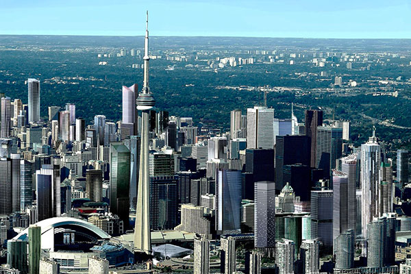 The Toronto skyline featuring the CN Tower