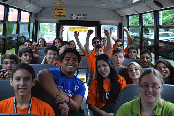 A bus full of students on a trip