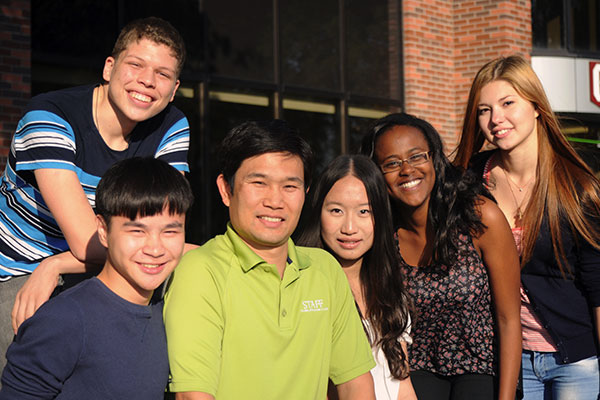 A group of students posing in front of Columbia International College