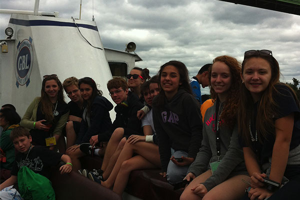 Students on a cruise down the St. Lawrence River