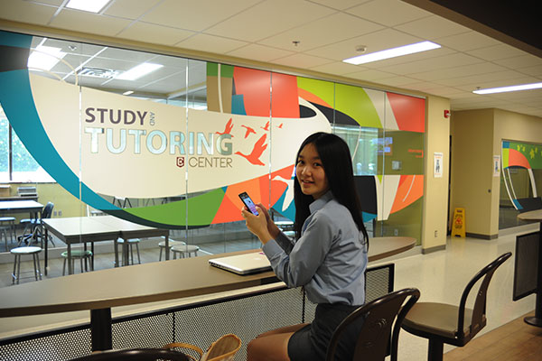 A student at the Study and Tutoring Center